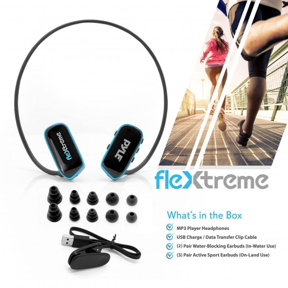 Pyle Flextreme Waterproof MP3 Headphones Underwater What's in box