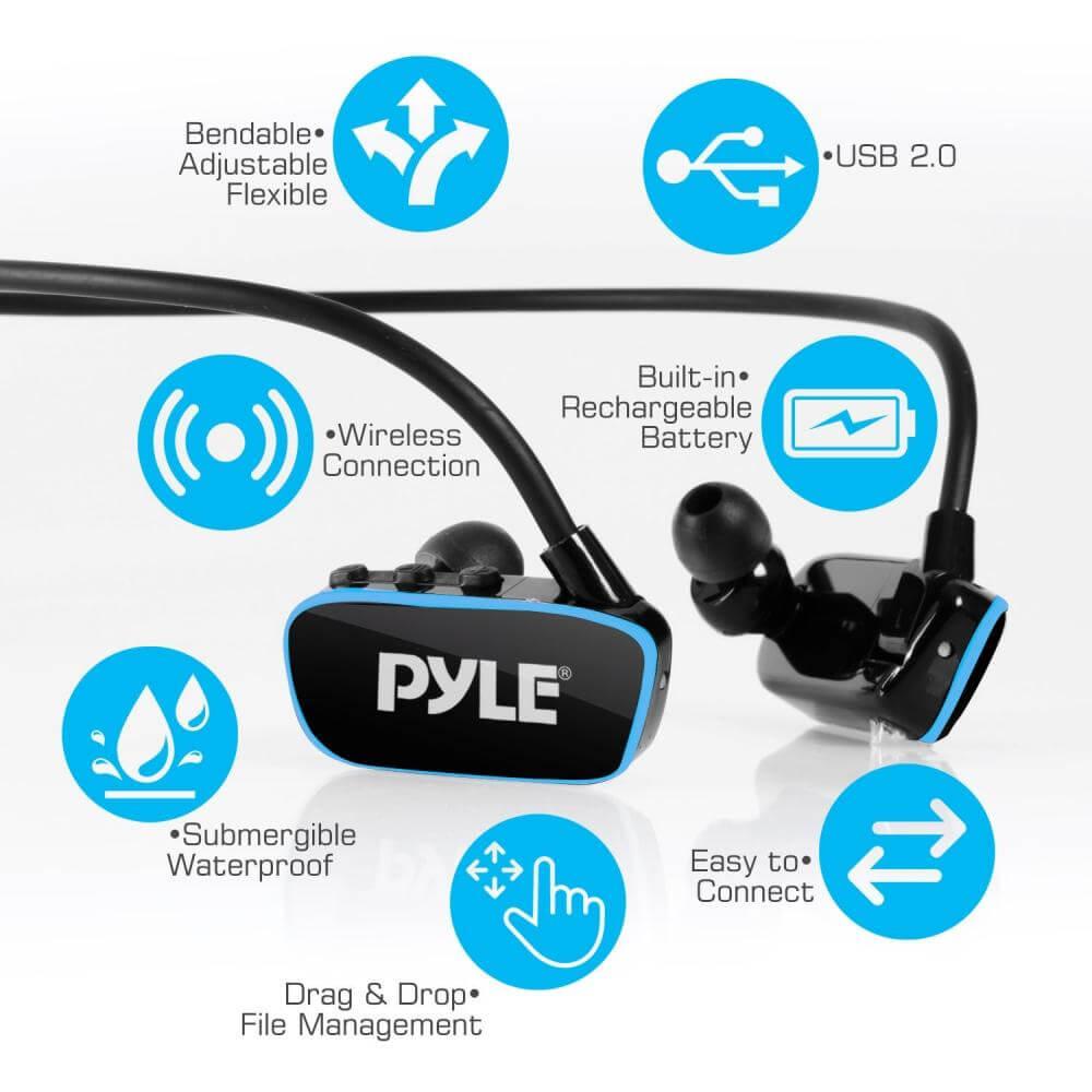 Pyle Flextreme Waterproof MP3 Headphones Underwater Info