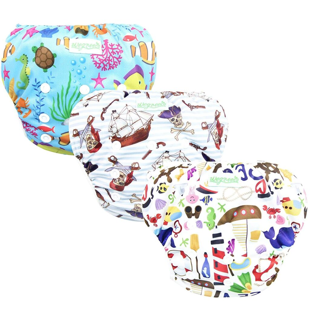 Best Looking Diaper for Swimming: Wegreeco Snap One Size Adjustable Reusable Baby Swim Diaper sea life