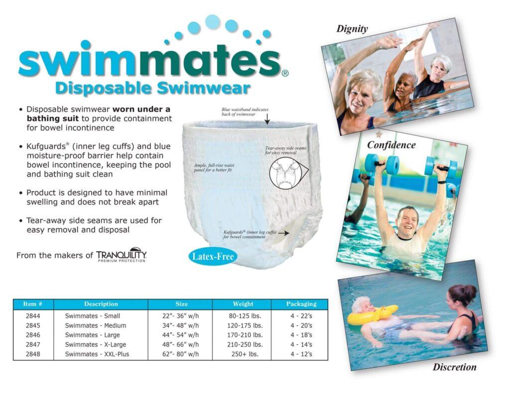 Best Adult Swim Diaper: Swimmates Disposable Adult Swim Diapers tech sheet