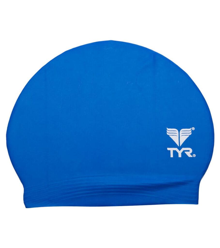 Best Budget Cap for Swimming: TYR Latex Swim Cap Blue