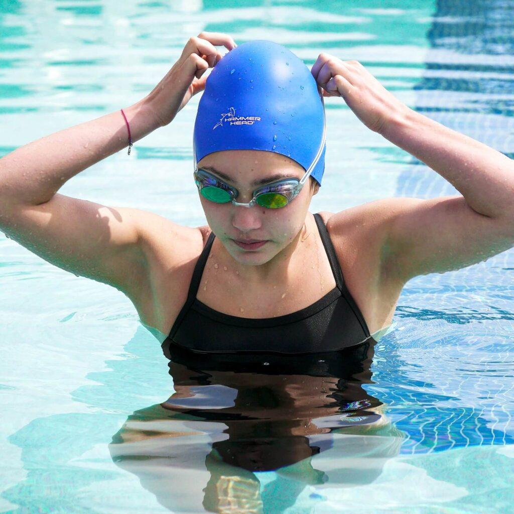 Best Safety Swim Cap: Hammer Head Swim Cap blue