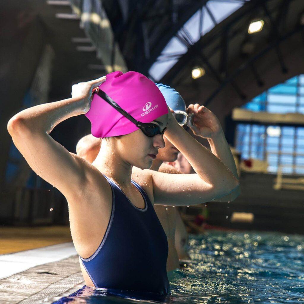 Best Swim Cap for Long Hair: Dsane Extra Large Swimming Cap Long Pink